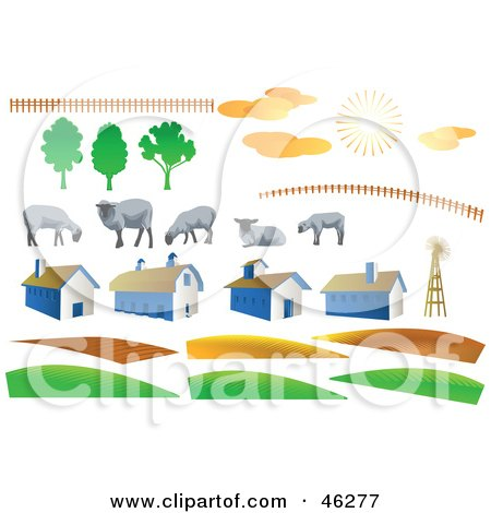 Royalty-Free (RF) Clipart Illustration of a Digital Collage Of Fencing, Sheep, Weather, Barns And Hills by Tonis Pan