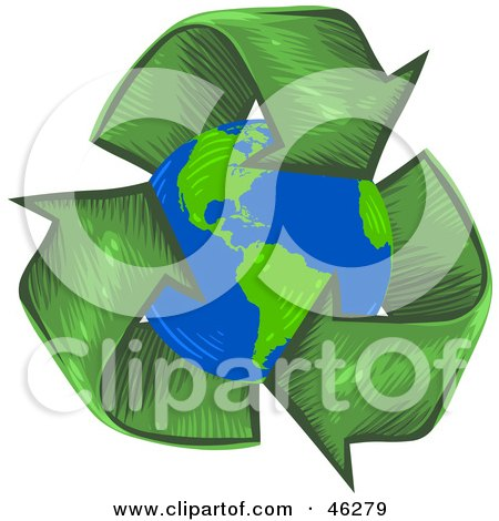 Royalty-Free (RF) Clipart Illustration of a Circle Of Green Arrows Around The Planet Earth by Tonis Pan