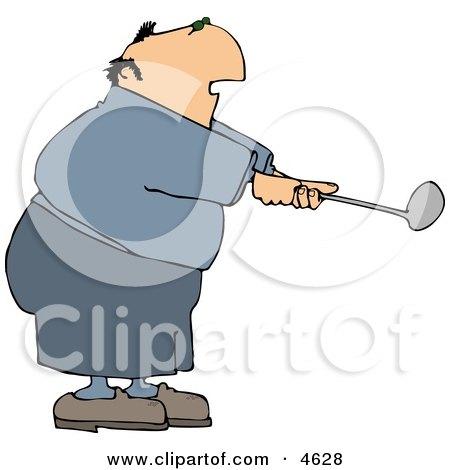 Overweight Elderly Man Swinging A Golf Club Clipart