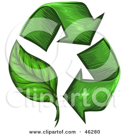 Royalty-Free (RF) Clipart Illustration of a Circle Of Green Sketched Arrows, One As A Leaf by Tonis Pan