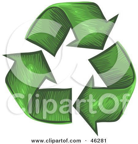 Royalty-Free (RF) Clipart Illustration of a Circle Of Grass Textured Recycle Arrows by Tonis Pan