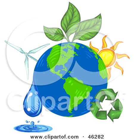 Royalty-Free (RF) Clipart Illustration of Green Energy And Recycling Plants Around The Earth by Tonis Pan