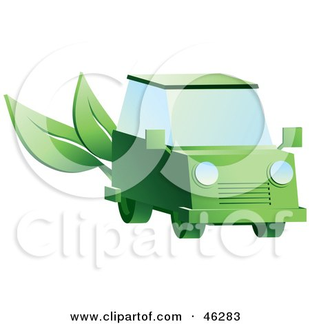 Royalty-Free (RF) Clipart Illustration of a Green Hybrid Car With Leaves On The Back by Tonis Pan