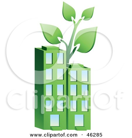 Royalty-Free (RF) Clipart Illustration of a Plant Growing On Top Of A Green Environmentally Friendly Apartment Building by Tonis Pan