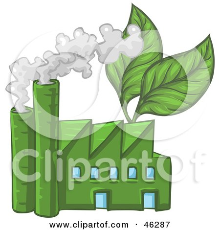 Royalty-Free (RF) Clipart Illustration of a Green Industrial Factory With Leaves And Smoke by Tonis Pan
