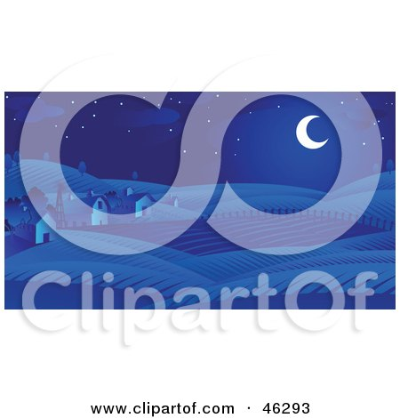 Royalty-Free (RF) Clipart Illustration of a Crescent Moon Casting Blue Light On Barns And Farm Land by Tonis Pan