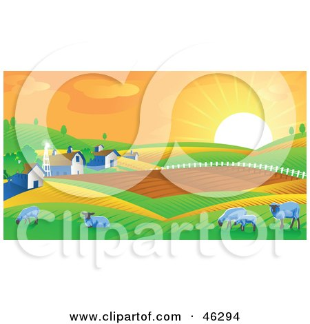 Royalty-Free (RF) Clipart Illustration of The Morning Sun Rising Upon Rolling Hills, Barns And Sheep On A Farm by Tonis Pan