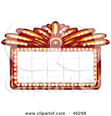 Royalty-Free (RF) Clipart Illustration of a Blank Illuminated Red Casino Or Theater Marquee Sign by Tonis Pan