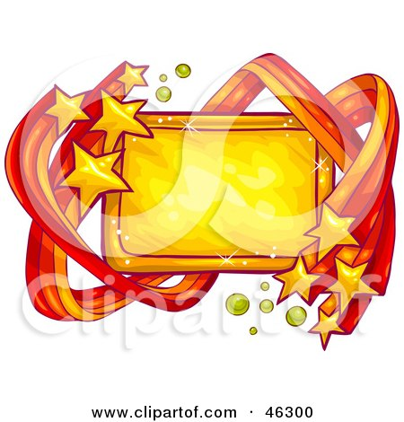 Royalty-Free (RF) Clipart Illustration of a Blank Sign Bordered In Shooting Yellow Stars by Tonis Pan