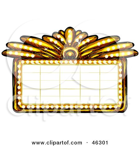 Royalty-Free (RF) Clipart Illustration of a Blank Illuminated Gold Casino Or Theater Marquee Sign by Tonis Pan