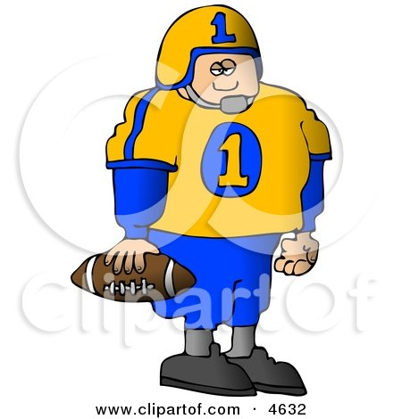 Young Male High School Football Player Standing With A Football In His Hand Clipart