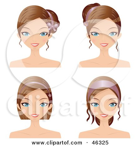 Royalty-Free (RF) Clipart Illustration of a Digital Collage Of A Woman Wearing Her Hair In Varying Styles With Accessories by Melisende Vector