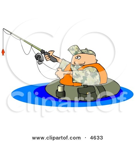 Float Tube Fisherman Fishing in a Lake Clipart by djart