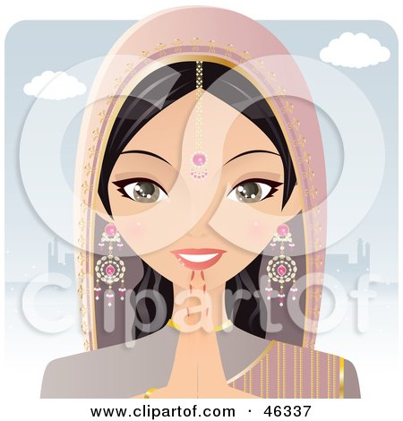 Royalty-Free (RF) Clipart Illustration of a Pretty Hindu Indian Woman Praying In Front Of A Temple by Melisende Vector