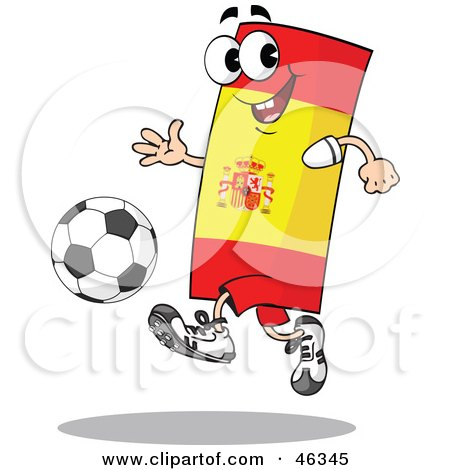 Spain Flag Playing Soccer Posters, Art Prints