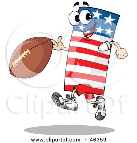 Royalty-Free (RF) Clipart Illustration of an American Flag Playing Football by Holger Bogen