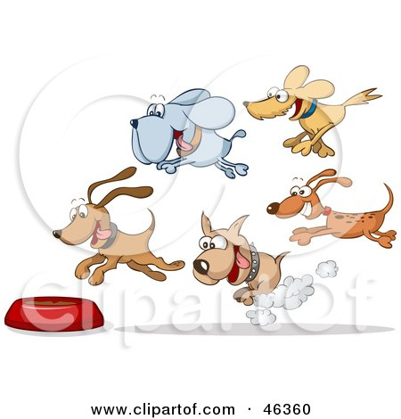 Royalty-Free (RF) Clipart Illustration of a Group Of Hungry Dogs Racing And Flying Towards A Food Bowl by Holger Bogen