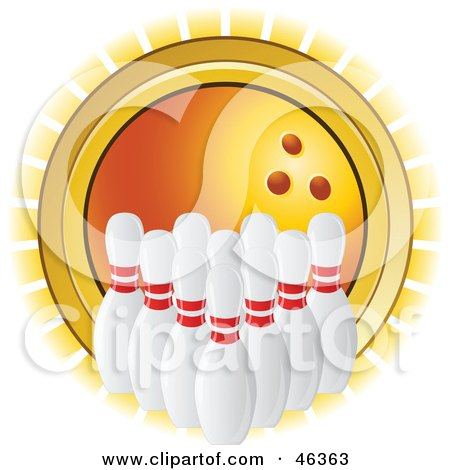 Royalty-Free (RF) Clipart Illustration of Lined Up Bowling Pins In Front Of A Shining Orange Ball by elaineitalia