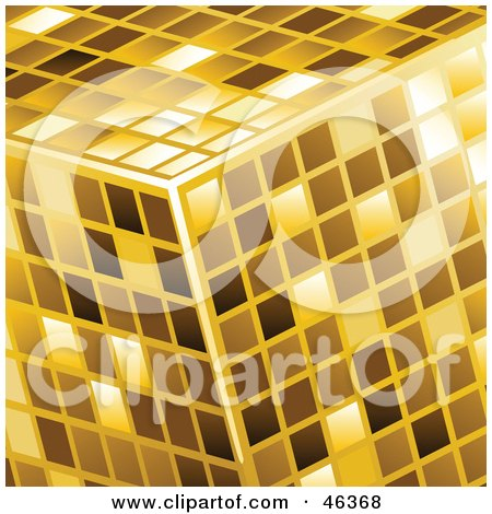 Royalty-Free (RF) Clipart Illustration of a Golden Cube Made Of Shiny Tiles by elaineitalia