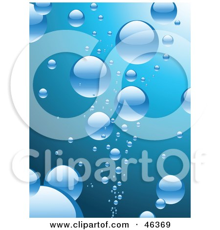 Royalty-Free (RF) Clipart Illustration of a Background Of Shiny Blue Bubbles Rising To The Surface Of Water by elaineitalia