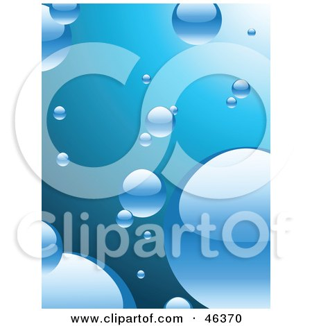 Royalty-Free (RF) Clipart Illustration of a Background Of Shiny Bubbles In Blue Water by elaineitalia