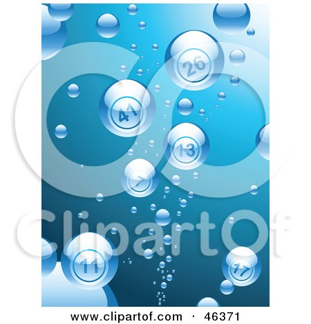 Royalty-Free (RF) Clipart Illustration of Bubbles Reflecting Bingo Balls While Rising To The Surface Of Blue Water by elaineitalia