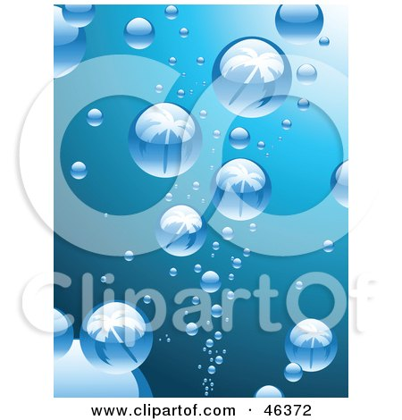 Royalty-Free (RF) Clipart Illustration of Bubbles Reflecting Palm Trees While Rising To The Surface Of Blue Water by elaineitalia