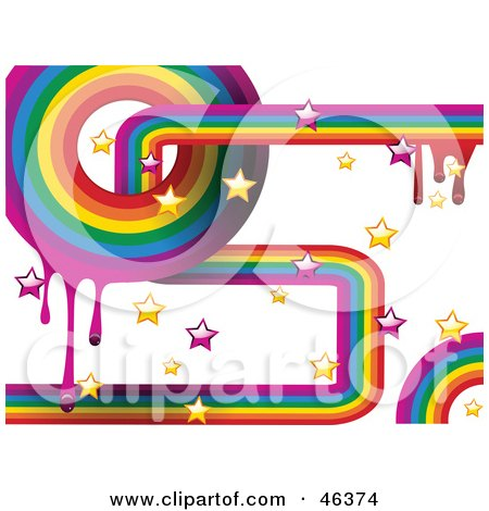 Royalty-Free (RF) Clipart Illustration of a Funky Rainbow Background Of Dripping Paint And Stars On White by elaineitalia