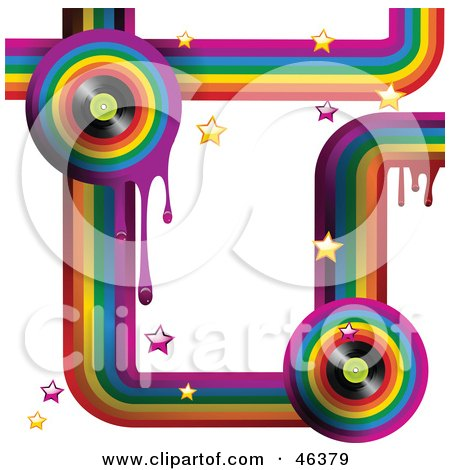 Royalty-Free (RF) Clipart Illustration of a Funky Music Rainbow Background With Drips, Stars And Vinyl Records On White by elaineitalia
