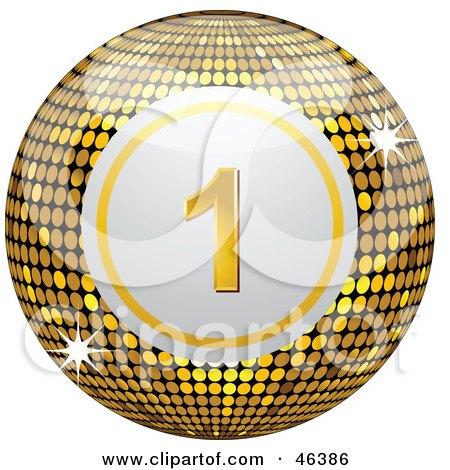 Royalty-Free (RF) Clipart Illustration of a Shiny Golden Number One Disco Bingo Ball by elaineitalia