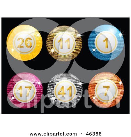 Royalty-Free (RF) Clipart Illustration of a Line Up Of Sparkling Disco Lottery Balls On Black by elaineitalia