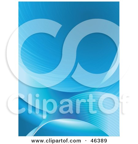 Royalty-Free (RF) Clipart Illustration of a Background Of Lined Blue Waves Swooshing Up And Down by elaineitalia