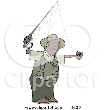 African American Fly Fisherman Getting Ready to Go Fishing Clipart by djart