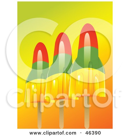 Colorful Rocket Shaped Pop Sickles On A Gradient Background Posters, Art Prints