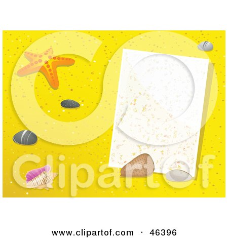 Royalty-Free (RF) Clipart Illustration of a Blank Message In The Sand With Starfish And Shells by elaineitalia