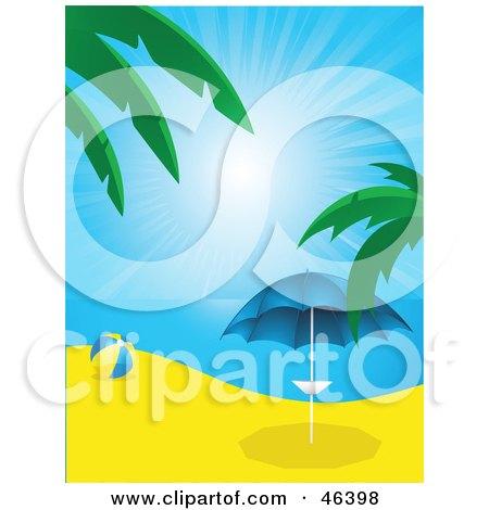 Royalty-Free (RF) Clipart Illustration of a Beach Ball Near A Parasol On A Beach In Paradise by elaineitalia