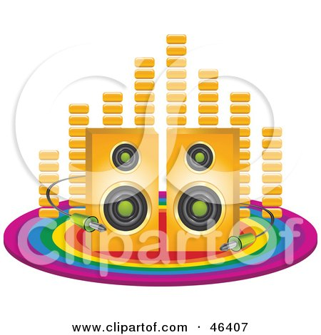 Royalty-Free (RF) Clipart Illustration of Equalizer Bars Behind Speakers With Cables On A Rainbow Circle by elaineitalia