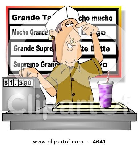 Teenage Boy Working The Cash Register At A Fast Food Mexican Restaurant Clipart