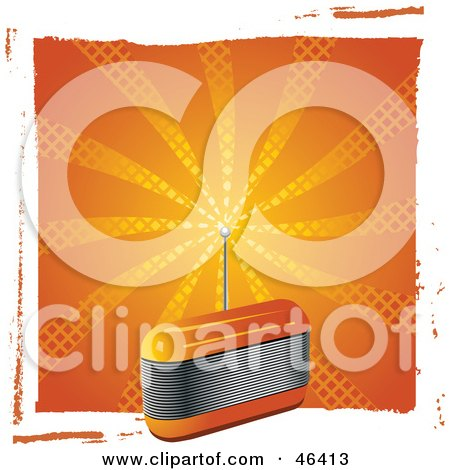 Royalty-Free (RF) Clipart Illustration of a Retro Orange Fm Radio With An Antenna by elaineitalia