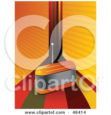 Royalty-Free (RF) Clipart Illustration of a Funky Orange FM Radio And Rainbow Background by elaineitalia