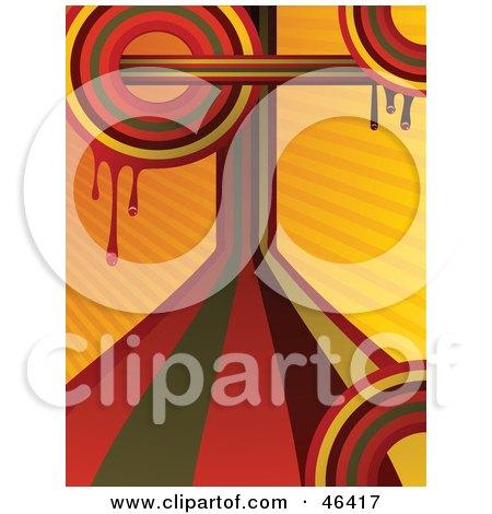 Funky Dripping Orange Retro Rainbow Background Circles