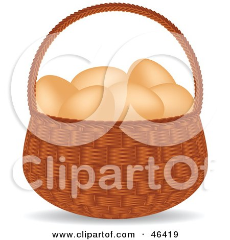 Royalty-Free (RF) Clipart Illustration of a Basket Full Of Organic And Free Range Brown Chicken Eggs by elaineitalia