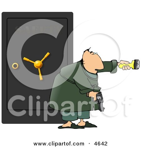 Armed Man Guarding A Safe Full Of Family Jewels Clipart