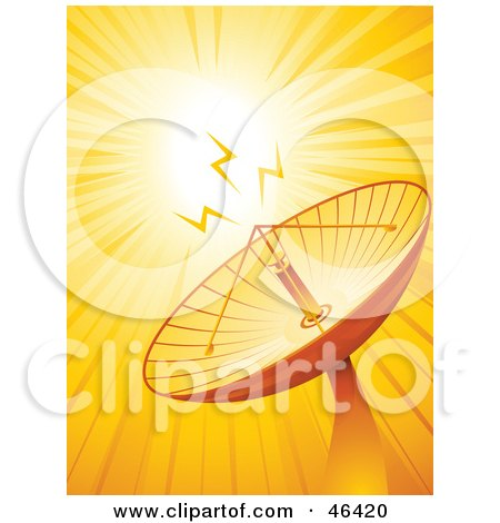 Royalty-Free (RF) Clipart Illustration of a Satellite Dish Transmitting Microwaves by elaineitalia