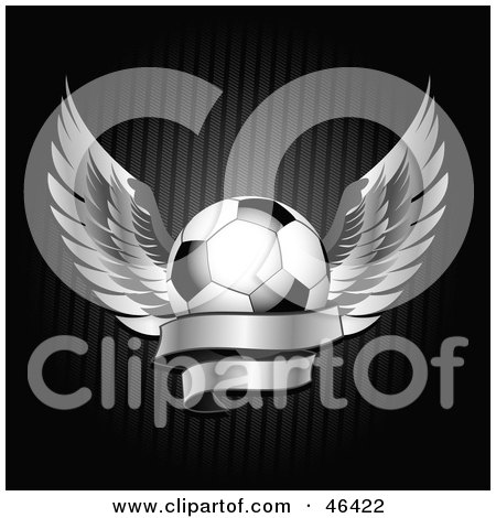 Winged Soccer Ball With A Blank Banner Posters, Art Prints