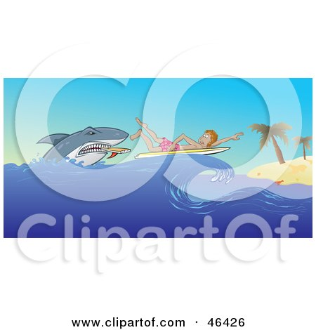 Royalty-Free (RF) Clipart Illustration of a Scared Surfer Paddling To A Beach While Being Attacked By A Shark by Paulo Resende