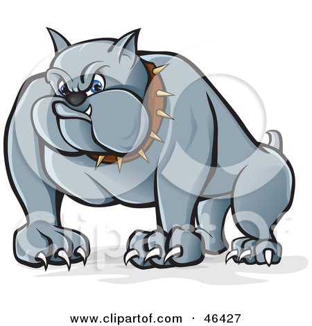 Royalty-Free (RF) Clipart Illustration of a Menacing Gray Bulldog With Long Claws And A Spiked Collar by Paulo Resende