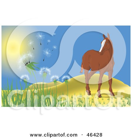 Royalty-Free (RF) Clipart Illustration of a Lone Horse Near Hills, Watching The Wind Blow Dandelions Into The Air by Paulo Resende