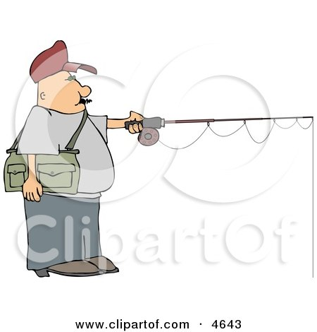 Fly Fisherman Fishing a Lake Clipart by djart