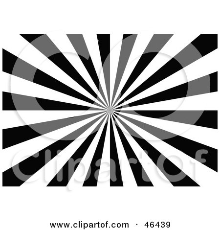 Royalty-Free (RF) Clipart Illustration of a Black And White Optical Illusion Burst Background by dero